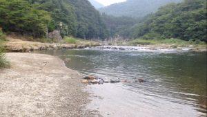 鬼怒川温泉キャンプ場の河原