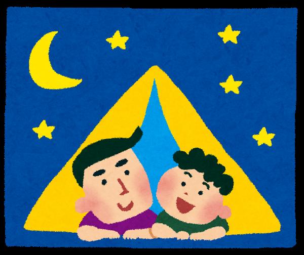 キャンプをする親子
