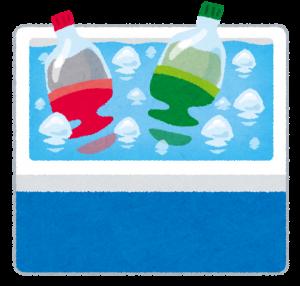 クーラーボックスで飲み物を冷やす画像