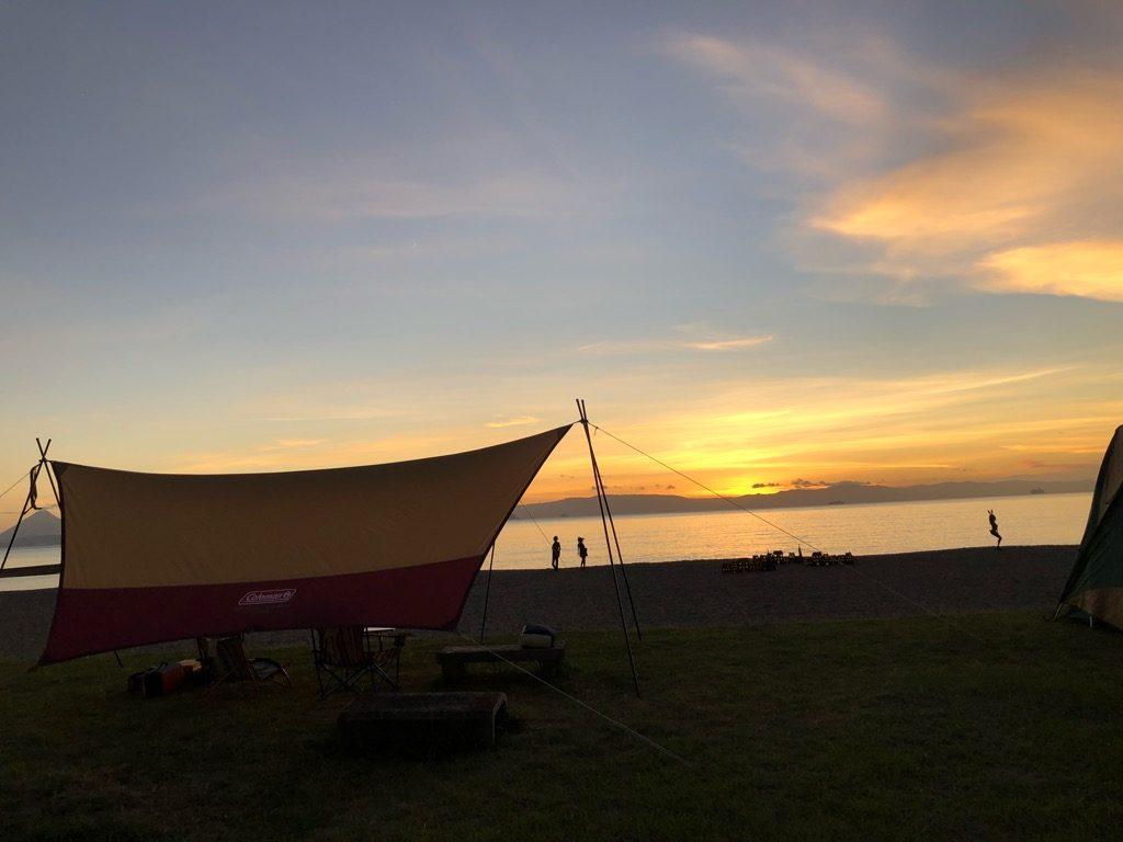 神川キャンプ場の夕焼け
