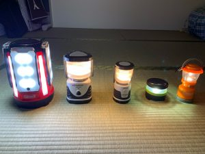 LEDランタンの明るさ比較