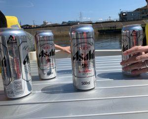 船の上でビール