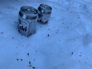 雪に埋めたビール